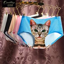 Cat Lady Underwear Anti Meow Star 3d Printing Seamless Waist Silk Small Cartoon Briefs CatworkSexy Pink Open Sexy Lingerie