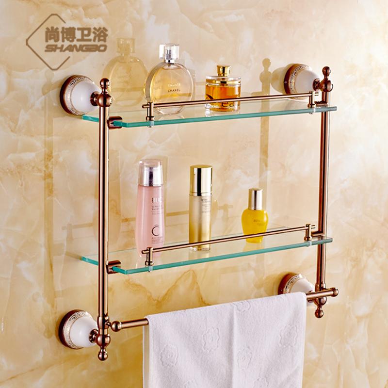 Bathroom shelf accessories bathroom shelves with baskets for Rose gold bathroom decor