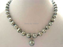 Rare Exquisite RARE High TAHITIAN PEARL NECKLACE WITH PENDANT  Wholesale necklaces gift 14K GP Silver Hook Jewelry shipping free(China (Mainland))