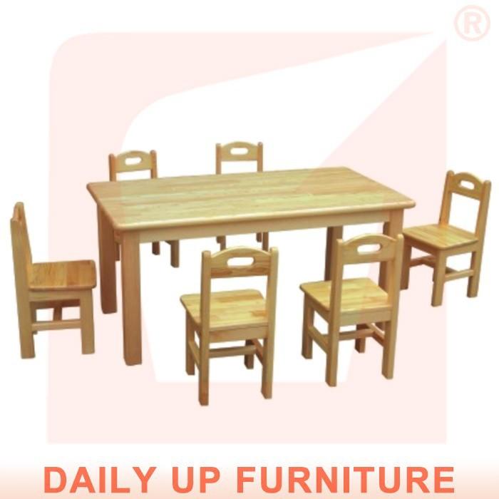 Solid Wood Preschool Desk 120 60cm Wooden Kids Desk