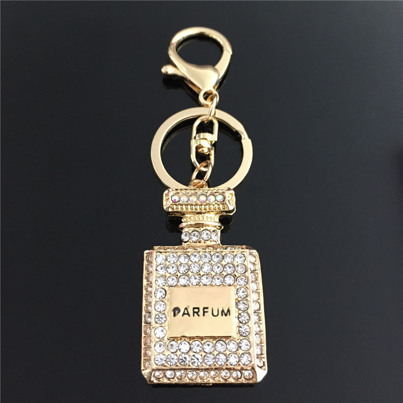 2015 Fashion Car Keychain Bag Charm Rhinestone Metal Keyring Key Holder Creative Perfume Bottle Key Chain Ring(China (Mainland))
