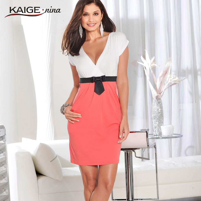 KaigeNina New Fashion Hot Sale Women Simple Clothing V-Neck Sexy Bud Above Knee Mini Lady Dress 1197(China (Mainland))
