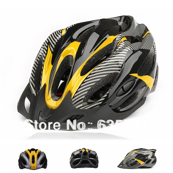 Mountain Road Cycling Bicycle Bike Helmet carbon color With Visor Unisex Yellow Free Shipping(China (Mainland))