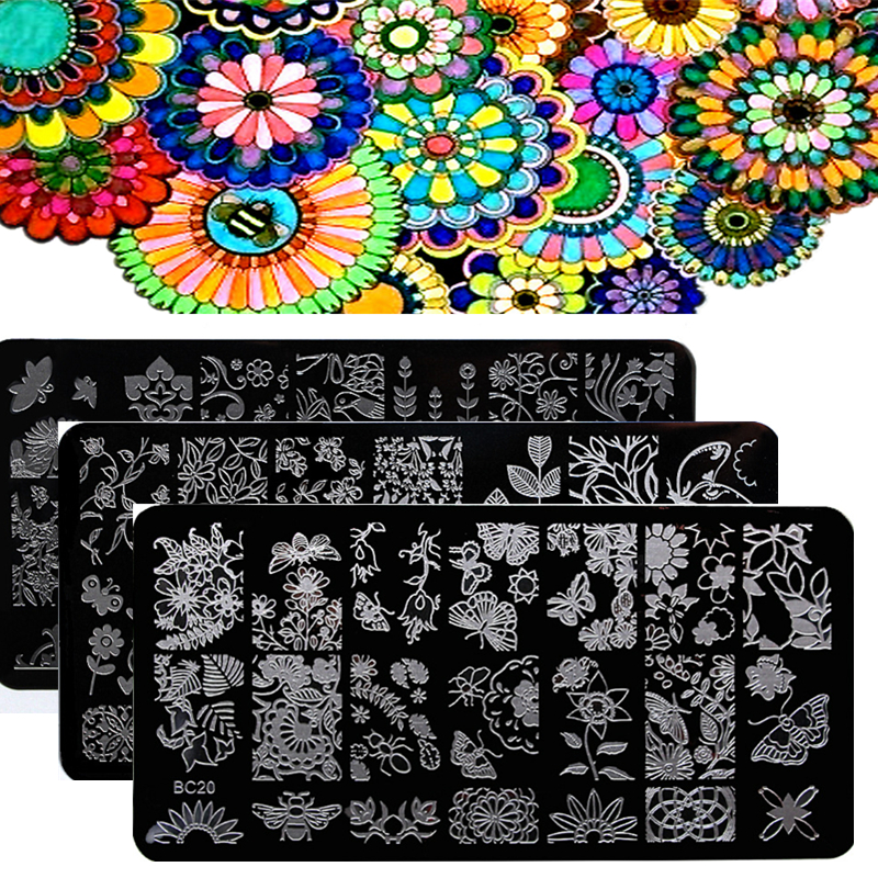 1pcs New Flower Leaves Forest Image Plates Nail Stamping Plates Stainless Steel Nail Art Stamp Template Manicure Nail Tools(China (Mainland))