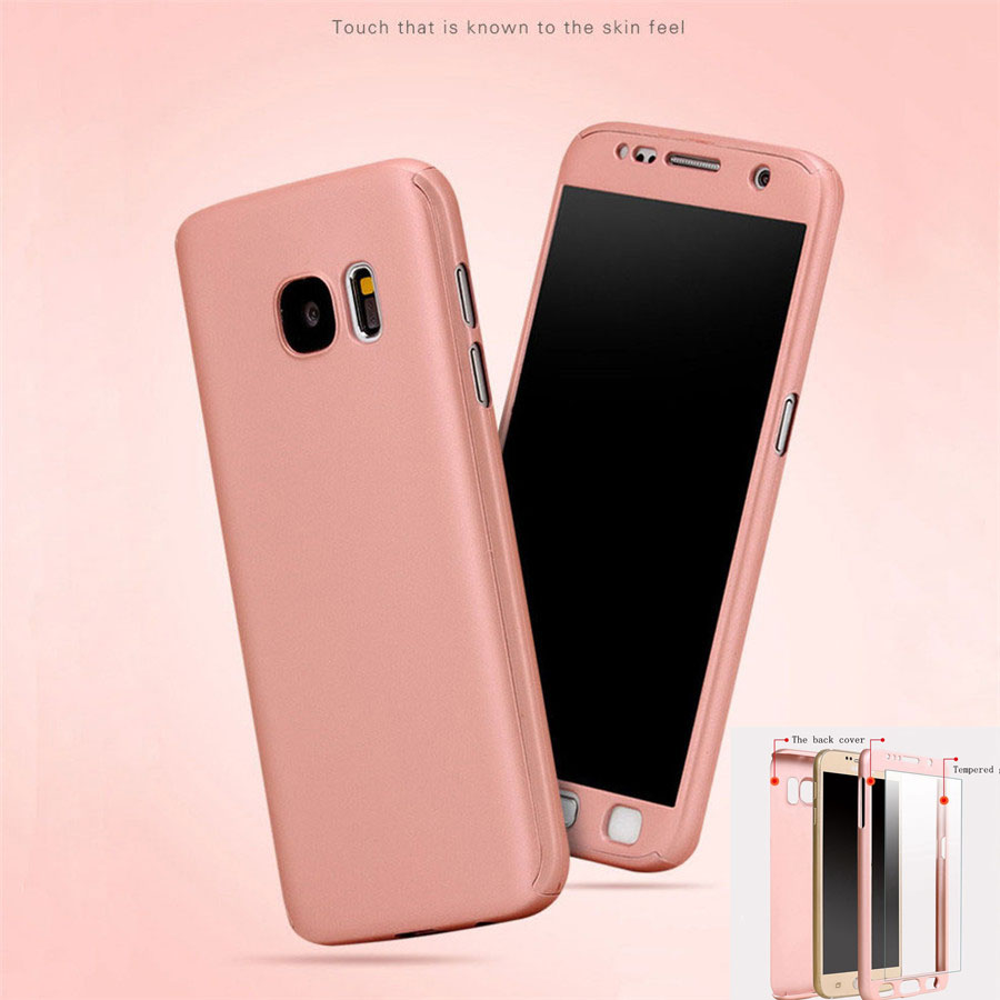 For Samsung S7 Hybrid PC 360 Full Protective Mobile Phone Case for Samsung Galaxy S6 S7 Cover Back Case + Tempered Glass Flim(China (Mainland))