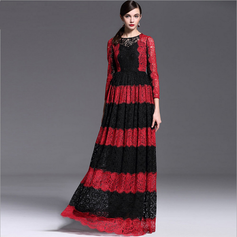 2016 New Runway Maxi Dress Ladys Gorgeous Long Sleeve Designer Color Block Full Lace Party Maxi DressОдежда и ак�е��уары<br><br><br>Aliexpress