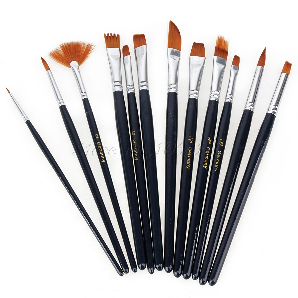 12pcs Artists Acrylic Watercolor Nylon Hair Oil Paint Brush Gouache Art Supply(China (Mainland))