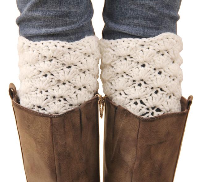 Новый ручной крючком женщин короткие гетры мода девушки полые из Осень и Зима теплая ...