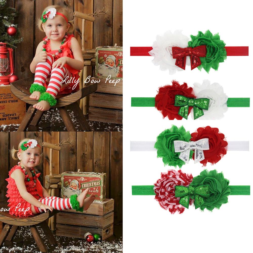 1pc Retail Baby Christmas Hair Accessories Children Chiffon Flower Headbands Boutique Bow Girls New Year Headwear(China (Mainland))