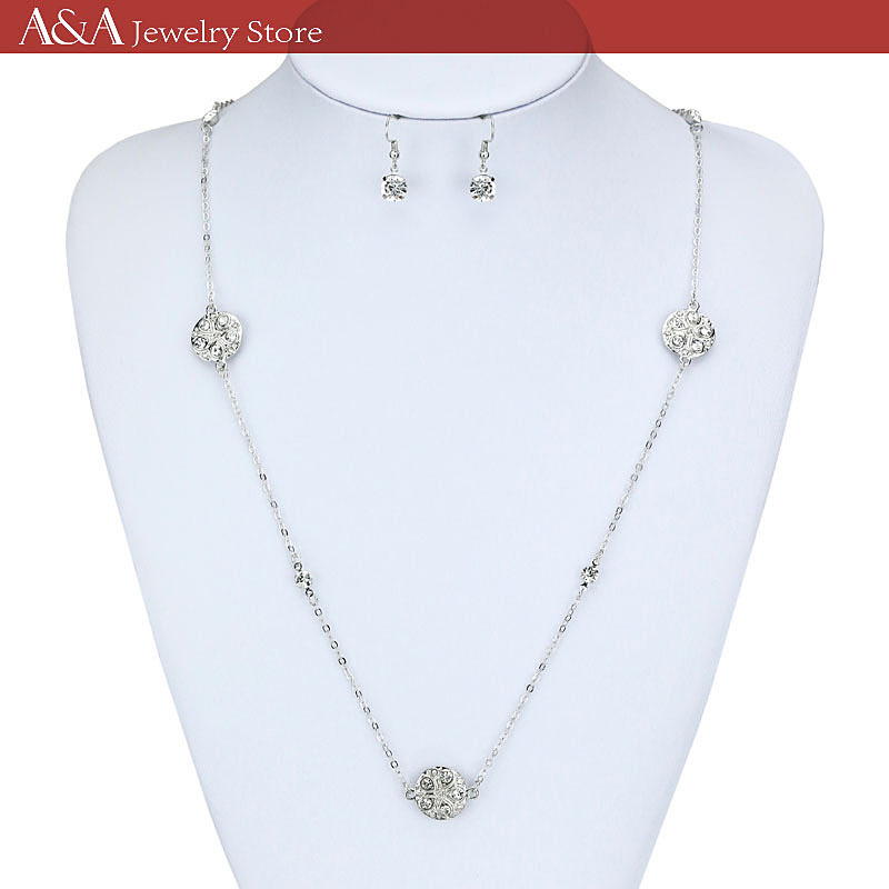 Long Necklaces Gold And Silver Necklaces For Women Hot Sale A&A Jewelry Luxury Rhinestone Necklaces(China (Mainland))