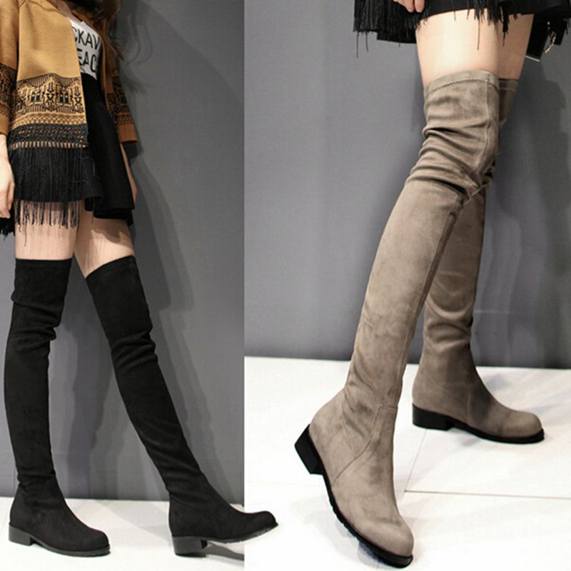 Women Winter Overknee Boots Wholesale Leg Ladies Stretch Elastic Knee High Genuine Leather Horse Riding Goat Suede Equestrian<br><br>Aliexpress