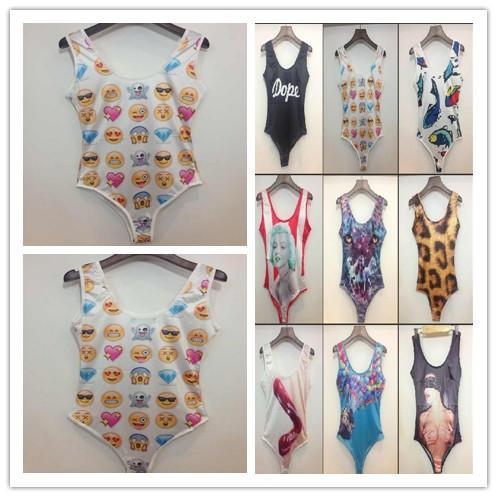 emoji fish dog print Swimwear 2015 Summer Women's Sexy Swimming Wear One Pieces 3D Print Sexy Lips Swimsuit Beach bodysuit(China (Mainland))