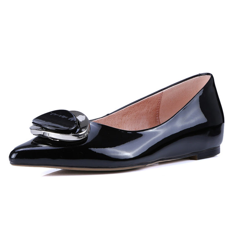 Фотография Black red pink 100% cowhide leather patent Brand New spring basic Flats slip-on driving comfortable shoes Casual Shoes for Women