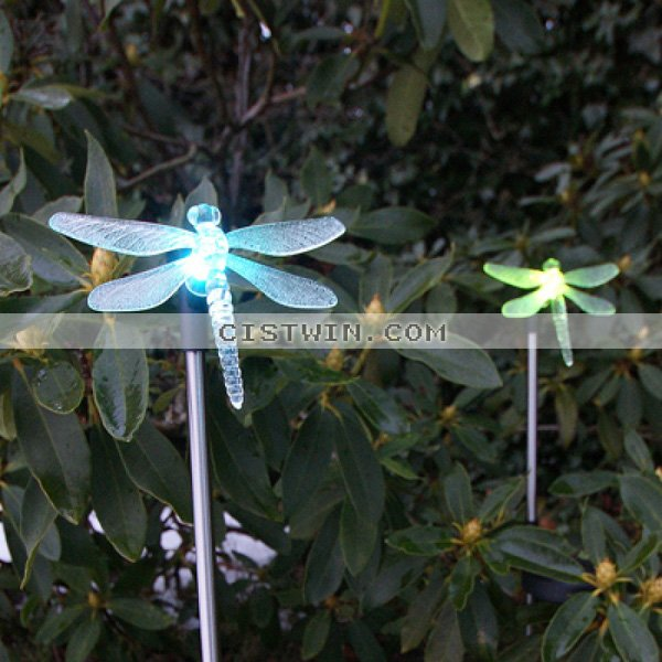 Set Of 2 Garden Color Changing Dragonfly Solar Stake Lights In Solar Lamps From Lights