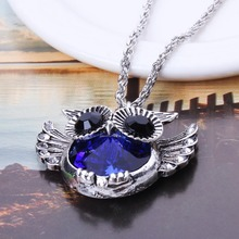 New Arrival Fashion Blue Jewelry Owl Pendant Necklace For Women Statement Necklace Hot Sale XL5682