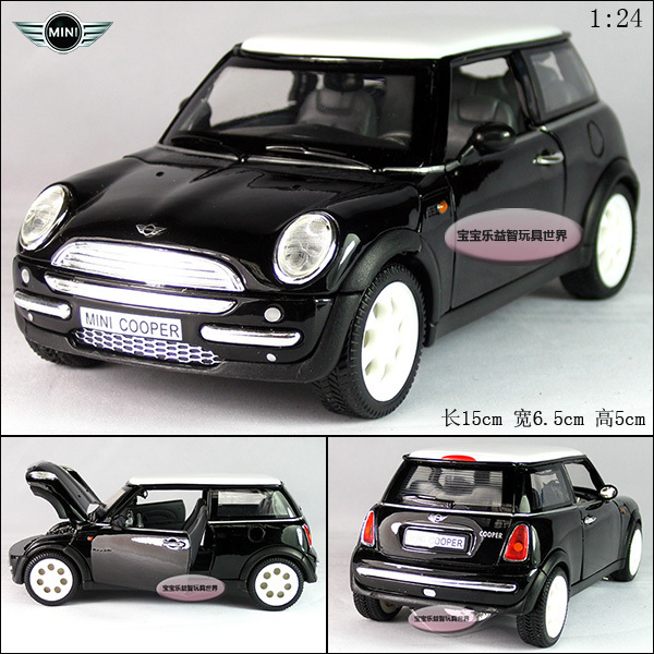 New MINI COOPER 1:24 Diecast Model Car Black Toy collection B044(China (Mainland))