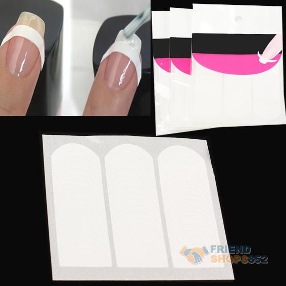 3 X French Strip Nail Art Form Fringe Guides Sticker DIY Line Tips WhiteOD#S(China (Mainland))
