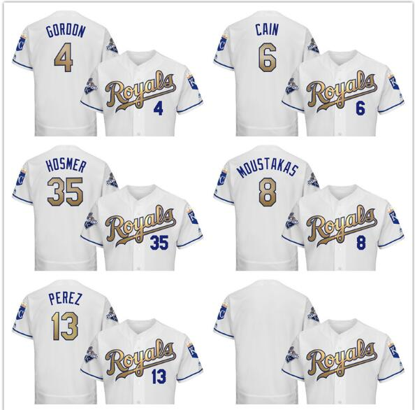 Kansas City Royals Mens Jersey 35 Eric Hosmer 13 Salvador Perez 8 Mike Moustakas 6 Lorenzo Cain 4 Alex Gordon baseball jersey(China (Mainland))