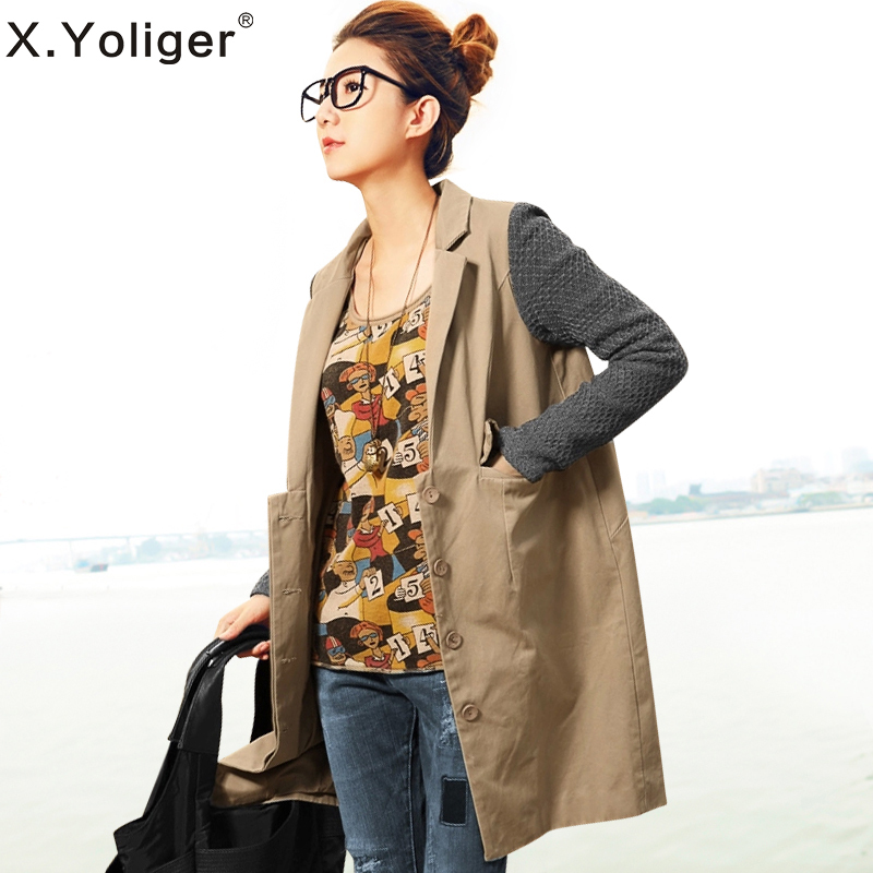 2015 new autumn Street style Casual Turn-down Collar Long Sleeve Patchwork Women's Trench coats 343002(China (Mainland))