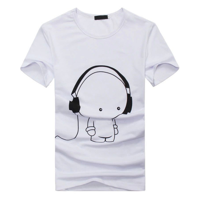 2016 new summer fashion fun cartoon black and white casual for Black and white shirts men