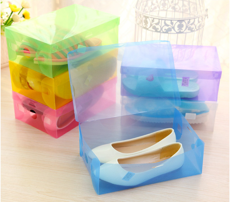 Thicken Colored Plastic Clamshell Shoebox Hot Storage Box Drawer Shoe Boots Box Finishing Box Storage Box(China (Mainland))