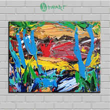 Buy Unframed abstract oil painting pn canvas palette paintings Blue Trees wall art decoration living room free for $8.97 in AliExpress store