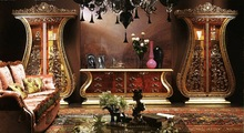 European Style Luxury Living Room Set Imperial Embossment Decorative Showcase Cabinet and TV Stand(China (Mainland))