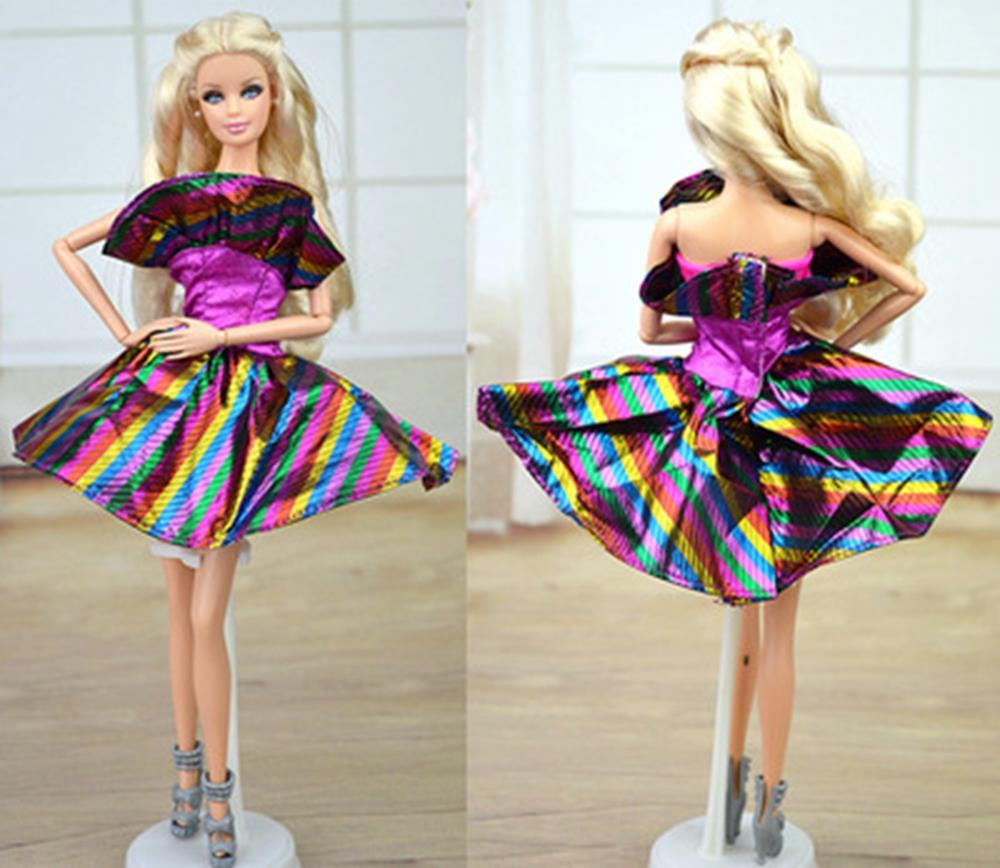 Doll Equipment Purple Rainbow Garments Costume For Barbie Doll Home Costume Occasion Robe Quick Clothes Vestidos for Barbie Doll