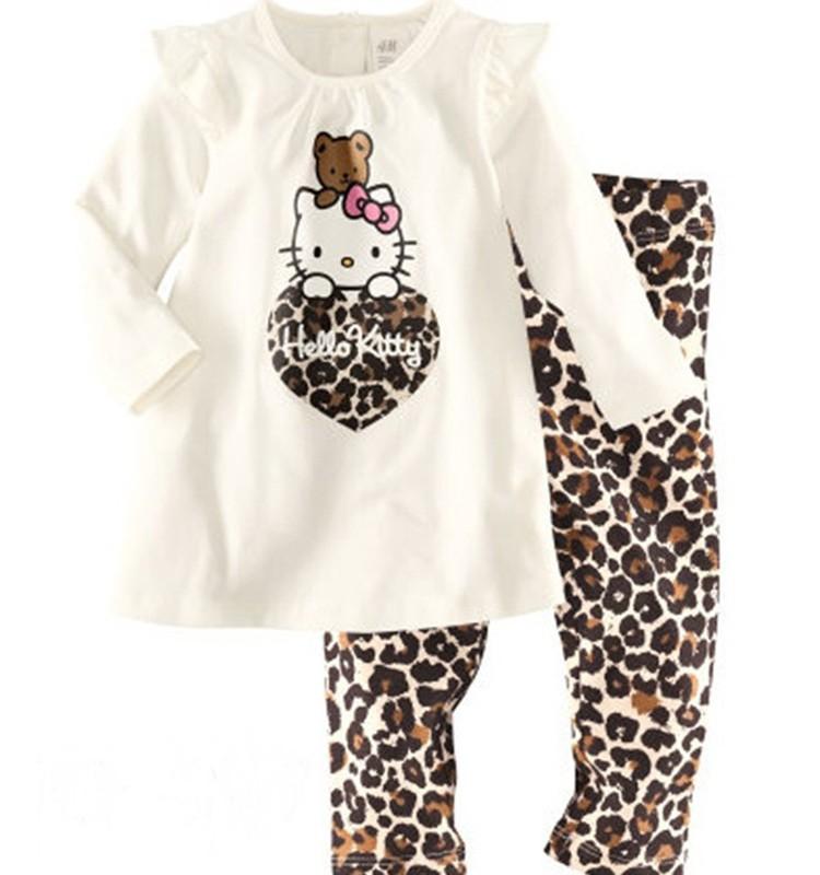 leopard print Children Autumn girls long Sleeve Clothing Set Hello Kitty Cartoon Pattern Pajamas high quality Kids Cotton Set(China (Mainland))