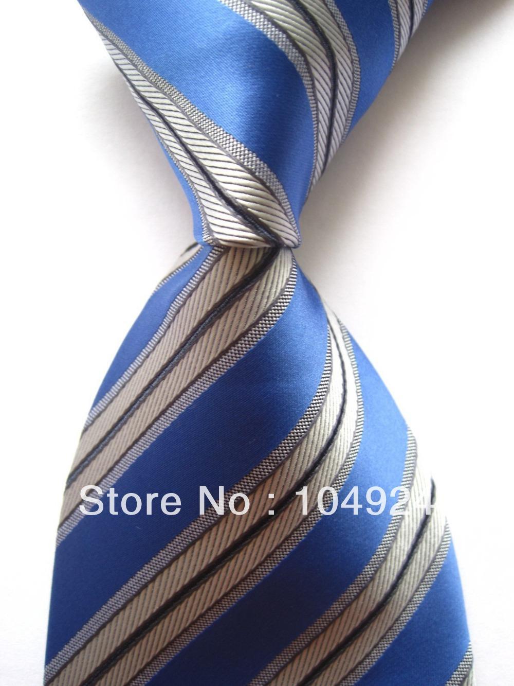 New Classic Striped Blue Black Gray JACQUARD WOVEN 100% Silk Men's Tie Necktie SN336(China (Mainland))