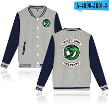 Waidx Southside Riverdale Serpents Baseball Snake Girl Jackets Sweatshirt Women Button Pocket Streetwear Drop Shipping(China)