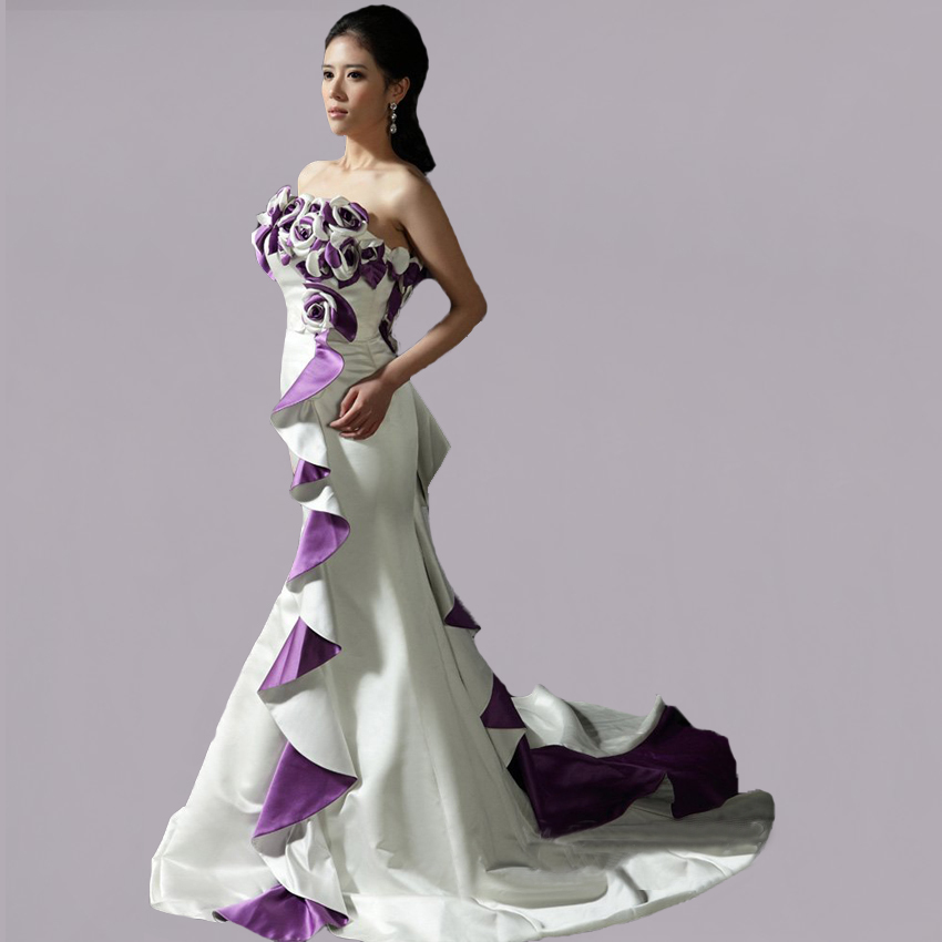 Purple And White Wedding Dresses Suppliers 7