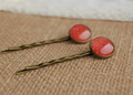 Fashion Red Tone Dots Glass Cabochon Hair Pins for Girls Simple Antique Bronze Bobby Pins for