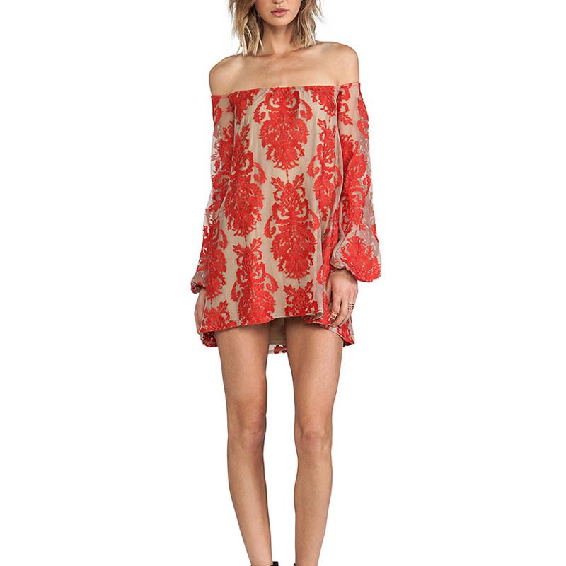 HIGH QUALITY New 2016 Fashion Summer Dress Womens Slash Neck Off The Shoulder Gauze Embroidery Mini DressОдежда и ак�е��уары<br><br><br>Aliexpress