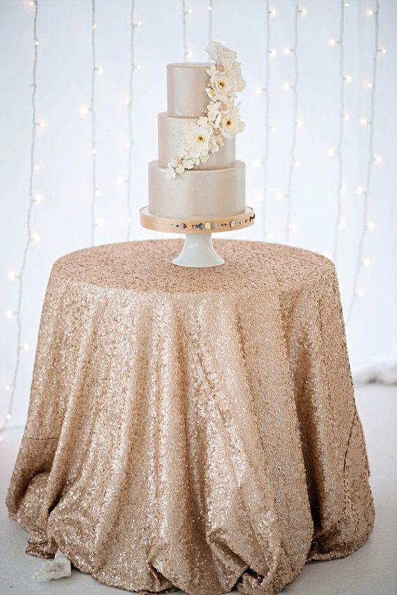 FREE SHIPPING 48'' Round Champagne Sequin TableCloth,Wholesale Wedding Beautiful Champagne Sequin Table Cloth / Overlay /Cover(China (Mainland))
