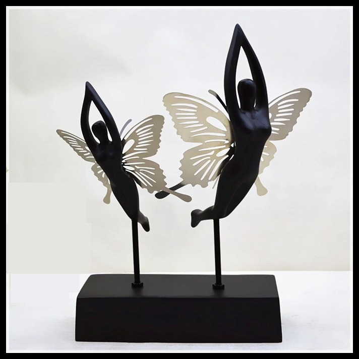 Fantasy Butterfly Fairy Lovers Figurine Abstract Resin Angel Statue Gift and Craft Ornament Accessories Embellishment Furnishing(China (Mainland))