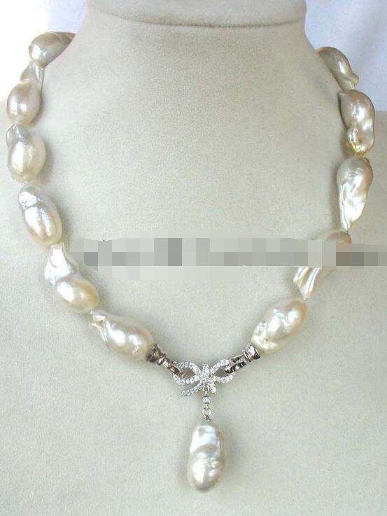 shitou 001621 freshwater pearl keshi rebor  white necklace <br><br>Aliexpress