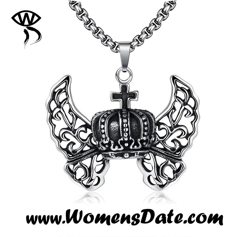 WomensDate New Unisex Fashion Angel Wings 316L Stainless Steel Vintage Pendant Necklace For Women And Men Jewelry With Gift Box(China (Mainland))