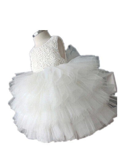 White 1 Year Birthday Dress Baby Girl Christening Gowns Christmas Tutu Girls Clothes Flower Dresses Weddings 7055