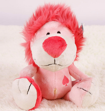 Super cute 1pc 25cm mini NICI Pink Concept funny lion cartoon forest poker little plush doll stuffed toy children gift for girl