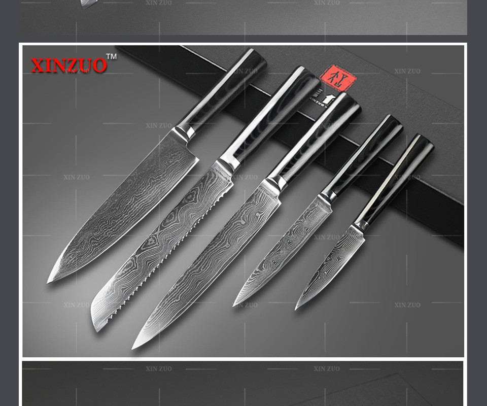 Buy XINZUO 73 layers 5 pcs chef knife Japanese VG10 Damascus stainless steel kitchen knife sets with Micarta handle free shipping cheap