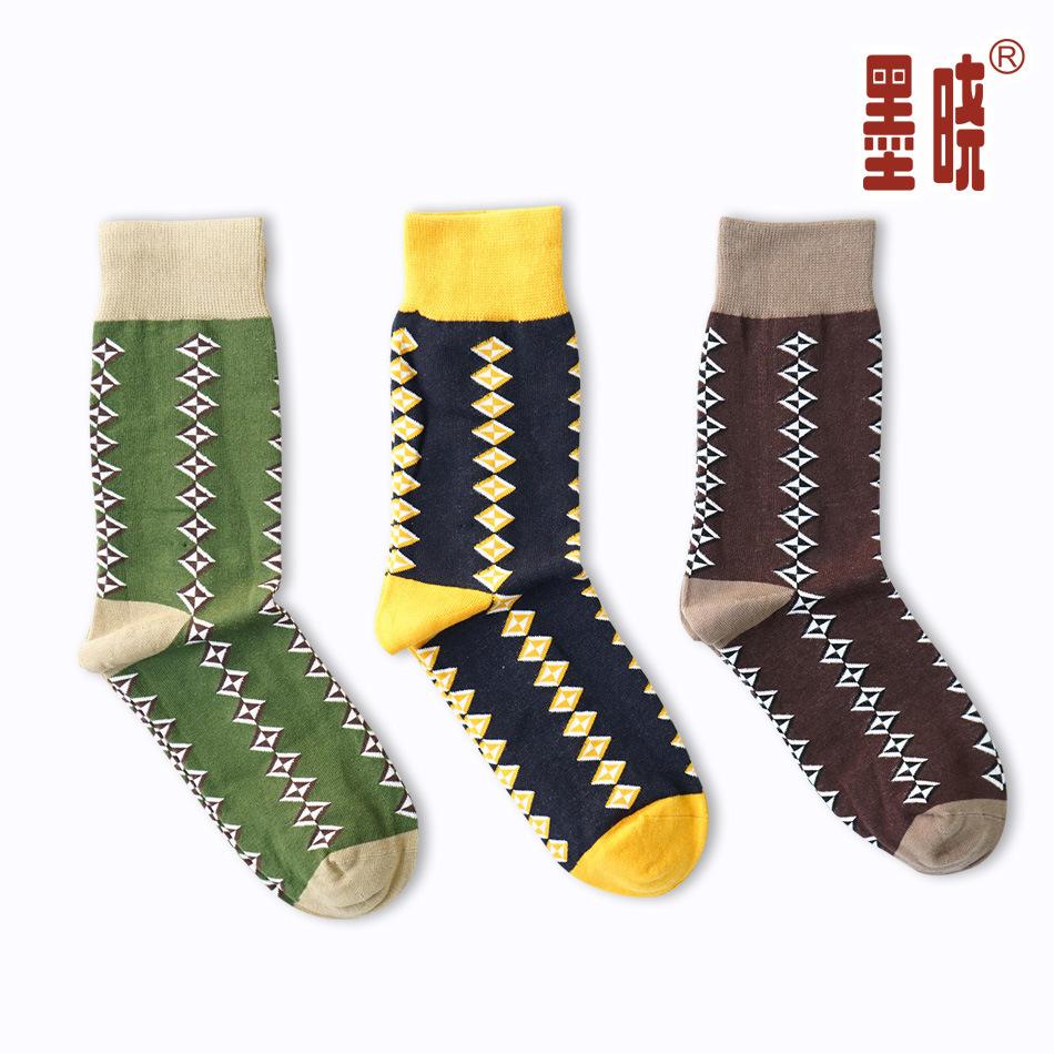 Men socks happy socks British style diamond pattern cotton socks and comfortable outdoor sweat absorbing all-match happy socks(China (Mainland))