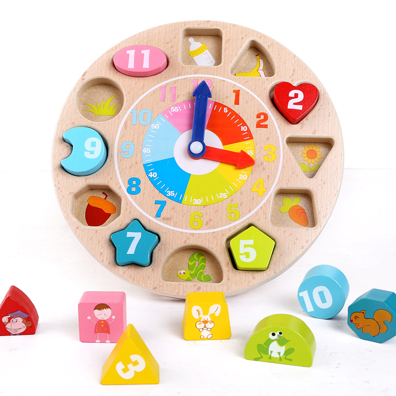 Free Shipping+3D Puzzle WoodenToys Christmas Gift for Children Educational Mechanical Digital Geometry Clock<br><br>Aliexpress