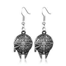 2016new fashion Freeshipping STAR WARS Millennium Falcon spacecraft Earring HDCCC02 BB8 robot doctor who earring Christmas gift(China (Mainland))
