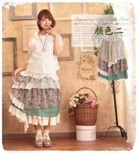 Long Skirt High Waist Lace Skrit Chiffon Floral Print Maxi Skirt Asymmetrical Bottom Cotton Vintage Women Skirt