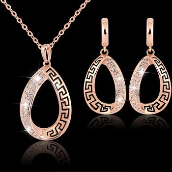 Rose Gold Plated Crystal Jewelry Set