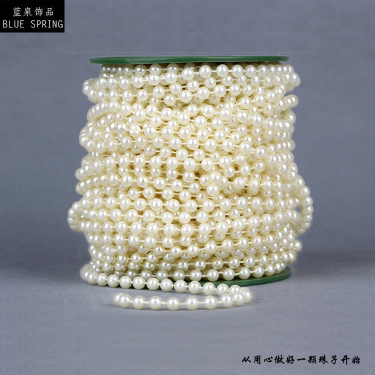 10 Meters White Cotton Line Pearls Beads Chain Garland for Flowers Wedding Party Decoration(China (Mainland))
