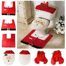 2016 Hot 1Lot Fancy Santa Toilet Seat Cover and Rug Bathroom Set Contour Rug Christmas Decorations For Natal Navidad Decoracion