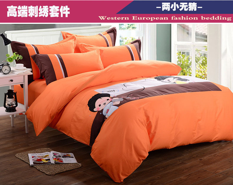 Quality cotton bedding-set orange bed linen edredon duvet cover applique embroidery dolls bed cover new design bed set 5097(China (Mainland))