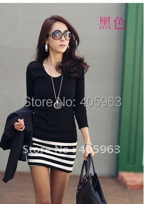 Fashion 2015 new fashion autumn winter Black White Strip dress long sleeve one size in all brand new